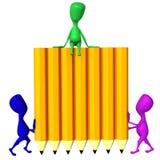 Veja a parede da preensão dos fantoches 3d dos lápis ilustração royalty free