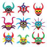 Vejigante mask for Ponce Carnival in Puerto Rico icons Royalty Free Stock Photo
