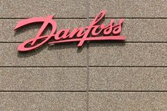 Danfoss sign on a wall. Vejle, Denmark - May 29, 2016: Danfoss sign on a wall. Danfoss Group is a global producer of products and services used in areas such as Stock Images