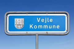 Vejle municipality road sign. In Denmark Royalty Free Stock Image