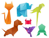 Vek fastställd japan för djurorigami illustrationen för vektorn för garnering för det moderna djurlivhobbysymbolet den idérika Royaltyfri Fotografi