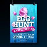 Vektorägg Hunt Easter Party Flyer Illustration med målade ägg, blommor och typografibeståndsdelar på tappningträ royaltyfri illustrationer