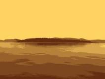 Vektorö i havet Arkivfoton