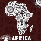 Vektoröversikt av Afrika med ethnomodellen, stam- bakgrund Vektorillustration av Afrika på panterhudbakgrund royaltyfri illustrationer