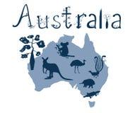 Vektoröversikt av Australien med australiska djur royaltyfri illustrationer