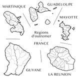 Vektoröversikt av de franska utländska regionerna med Martinique, Guadeloupe, Mayotte, Lamöte och Franska Guyana, Frankrike fotografering för bildbyråer