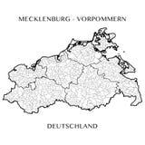 Vektoröversikt av förbundsstaten av Mecklenburg Vorpommern, Tyskland arkivbilder