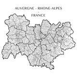 Vektoröversikt av regionen Auvergne - Rhone-Alpes, Frankrike arkivfoton
