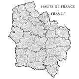 Vektoröversikt av regionen Hauts de Frankrike, Frankrike royaltyfri bild