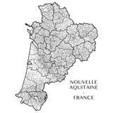 Vektoröversikt av regionen Nouvelle-Aquitaine, Frankrike royaltyfri fotografi