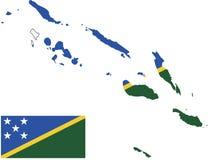 Vektoröversikt av Solomon Islands med flaggan isolerad vit bakgrund royaltyfri foto