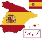 Vektoröversikt av Spanien med flaggan isolerad vit bakgrund royaltyfri fotografi