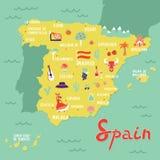 Vektoröversikt av Spanien med gränsmärken, folk, mat och växter royaltyfri illustrationer