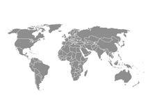 Vektoröversikt av världen Grå illustration på vit bakgrund Arkivbild