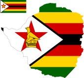 Vektoröversikt av Zimbabwe med flaggan isolerad vit bakgrund royaltyfri bild