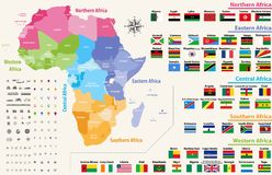 vektoröversikten av den Afrika kontinenten färgade vid regioner Alla flaggor av afrikanska länder som är ordnade i alfabetisk ord