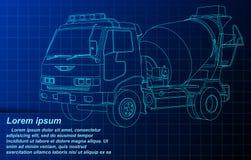Vektoröversikten skissar cementlastbilen på ritning vektor illustrationer