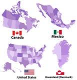 Vektoröversikter och flaggor av Nordamerika länder med regioner för administrativa uppdelningar gränsar stock illustrationer