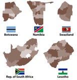 Vektoröversikter och flaggor av sydliga Afrika länder med regioner för administrativa uppdelningar gränsar royaltyfri illustrationer