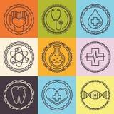 Vektoröversiktslogoer - sjukvård och medicin stock illustrationer