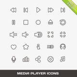 VektoröversiktsMedia Player symboler Royaltyfri Bild