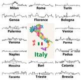 Vektoröversiktssymboler av italienska stadshorisonter med översikten och flagga av Italien Arkivbild