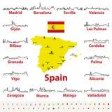 Vektoröversiktssymboler av Spanien stadshorisonter med översikten och flagga av Spanien Royaltyfri Fotografi