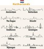 Vektoröversiktssymboler av stadsNederländernahorisonter Royaltyfri Foto
