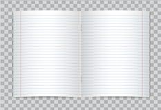 Vektor öffnete realistisches gezeichnetes Volksschuleschreibheft mit roten Rändern auf transparentem Hintergrund Lizenzfreie Stockbilder