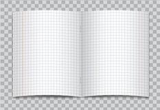 Vektor öffnete realistisches quadratisches Volksschuleschreibheft mit roten Rändern auf transparentem Hintergrund Stockbild