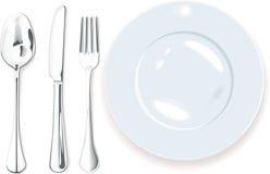 Vektor. Abendessen-Platte, Löffelgabel und Messer Stockfotos
