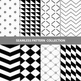 Vektor-abstrakte geometrische nahtlose Muster-Design-Sammlung Stockfoto