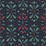 Vektor Abtract-Blumenmuster im dunkelgrünen und roten nahtlosen Musterhintergrund lizenzfreie abbildung