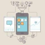 Vektor-APP-Förderung und Marketing-Illustration Stockfotos