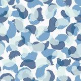 Vektor-Aquarell Rose Leave Shades im blauen nahtlosen Musterhintergrund vektor abbildung