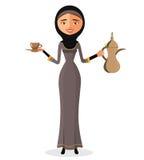 Vektor - arabische Frau der Karikatur, die ein arabisches Kaffeetopf- und -schalenisolat auf weißem Hintergrund hält Stockbild