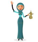 Vektor - arabisches Mädchenkarikaturvektor-Illustrationsisolat auf weißem Hintergrund Auch im corel abgehobenen Betrag Lizenzfreie Stockbilder