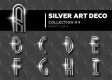 Vektor Art Deco Font Retro alfabet för glänsande silver Gatsby Styl Arkivbilder