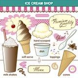 Vektor-Art Ice Cream Shop Set-Belags-Erschütterung Lizenzfreies Stockfoto