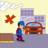 Vektor Art Logo Template för illustration för vägsäkerhet och illustration royaltyfri illustrationer