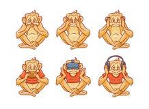 Vektor att se ingen ondska höra ingen ondska tala inga onda apor royaltyfri illustrationer