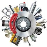 Vektor-Auto erspart Konzept mit Scheiben-Bremse vektor abbildung