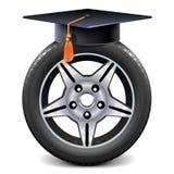 Vektor-Auto-Rad mit quadratischer akademischer Kappe stock abbildung