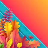 Vektor Autumn Banner Bukett av stupade höstsidor på turkosbakgrund med trätextur stock illustrationer