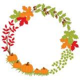 Vektor Autumn Wreath med pumpa, ekollonar och sidor