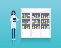 Vektor av apotekräknaren med hyllor och hälsovårdprofessionelln stock illustrationer
