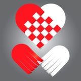 Vektor av att fläta hjärta för två signaler, rött och vitt Arkivbilder