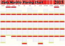 Vektor av att hyvla det dagliga månatliga året 2015 för diagram allra Fotografering för Bildbyråer