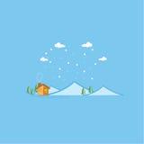 Vektor av berg- och huslandskapet Arkivbild