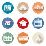 Vektor av den grafiska stads- symbolen för byggnadslägenhetdesign Arkivbilder